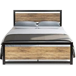 Urest Full Size Bed Frame with Headboard/Platform Metal Bed Frame with Footboard/Strong Slat Sup ...