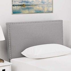 LAGRIMA Upholstered Linen Twin Size Headboard with Decorative Nailhead Trim in Grey Fabric Adjus ...