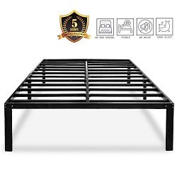 HAAGEEP Heavy Duty King Bed Frame No Box Spring Needed 14 Inch Black Metal Platform Beds Frames  ...