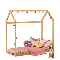 UHOM Bedroom Twin Size Furniture Premium Wood Children Toddler House Bed Frame King Size Tent Be ...