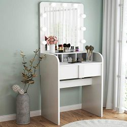Tribesigns Vanity Table Set with Lighted Mirror, Makeup Vanity Dressing Table with 9 Cool Light  ...