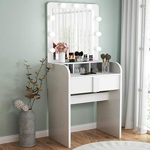 TribesignsVanity Table Setwith Lighted Mirror,Makeup Vanity Dressing Tablewith 9 Cool Light  ...
