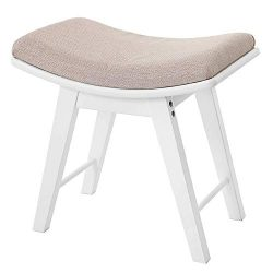 IWELL Vanity Stool with Rubberwood Legs, Makeup Bench Dressing Stool, Padded Cushioned Chair, Pi ...