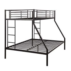 Metal Bunk Beds Twin Over Full, WeYoung Easy Assembly Twin-Over-Full Bed with Guard Rail and 2 L ...