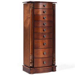 Giantex Large Jewelry Armoire Cabinet with 8 Drawers & 2 Swing Doors 16 Hooks Top Mirror Box ...