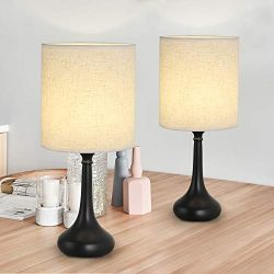 RZChome Bedside Table Lamps Set of 2 – Modern Nightstand Lamps, Simple Desk Lamps for Bedr ...
