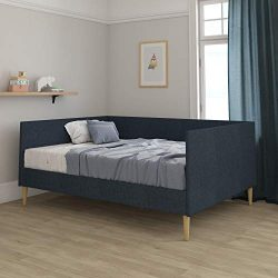DHP 4126629 Franklin Mid Century Upholstered, Full Size, Navy Linen Daybed, Blue
