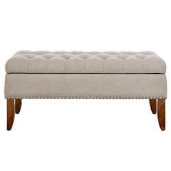 Pulaski DS-D107003-619 Beige Hinged Top Button Tufted Storage Bed Bench Accent Seating, Brown