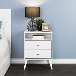 Prepac Milo Mid Century Modern 2 Drawer Tall Nightstand in White