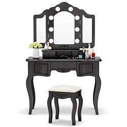 Tribesigns Vanity Set with Tri-Folding Lighted Mirror, French Vintage Makeup Vanity Dressing Tab ...