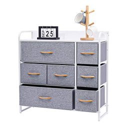 Kamiler 7-Drawer Dresser, 3-Tier Storage Organizer, Tower Unit for Bedroom, Hallway, Entryway, C ...