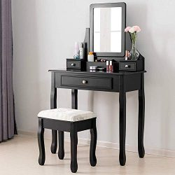 Mecor Vanity Table Set w/Square Mirror,Dressing Table Cushioned Stool&3 Drawers,3 Removable  ...