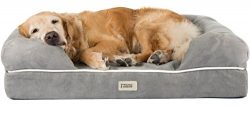 Orthopedic Dog Bed Lounge Sofa Removable Cover 100% Suede 4″ Mattress Memory-Foam Premium  ...