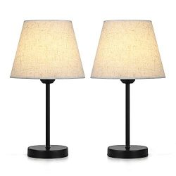 Bedside Table Lamp Set of 2 – Nightstand Lamps with Linen Fabric Shade – Desk Lamp f ...
