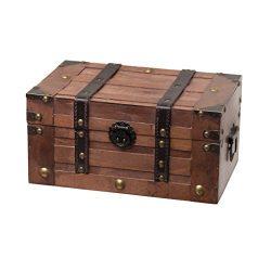 SLPR Alexander Wooden Trunk Chest with Straps | Decorative Treasure Stash Box Old-Fashioned Anti ...