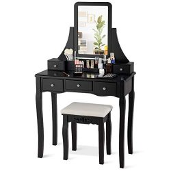 CHARMAID Vanity Set with 5 Drawers, 2 Dividers, Removable Storage Box, Dressing Table Set with S ...