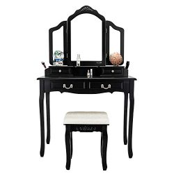 Bonnlo Vanity Table Set with 4 Drawers Tri-Folding Mirror Makeup Dressing Table with Vanity Cush ...