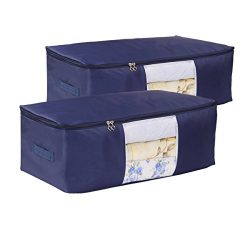 VEAMOR Comforter Storage Bags Pack of 2,(14 Colors to Choose) Pillow Beddings/Blanket Clothes Or ...