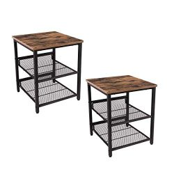 Industrial Tables Nightstand, Set of 2 Side Tables, Industrial End Table with Mesh Shelves, for  ...
