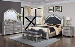GTU Furniture Kenton Panel Wooden 4Pc Queen Bedroom Set(Q/D/M/N)