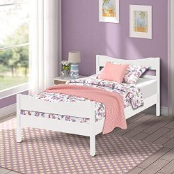Merax Wood Platform Bed Twim Size Panel Bed Mattress Foundation Wooden Slat Support Twin Size(White)