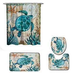 Fiaya 3Pcs /4PCS Stone Pattern Ocean Tortoise Bathroom Set Rug Contour Mat+Toilet Lid Cover +Pla ...