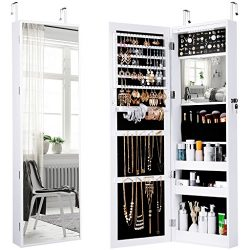LANGRIA Jewelry Cabinet Organizer Lockable with Full Length Mirror and Spacious Storage, Wall Mo ...