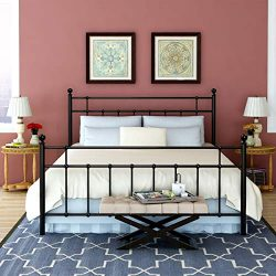 Buff Home Metal Bed Platform Frame with Steel Headboard and Footboard Mattress Foundation Bedroo ...