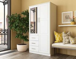 Metro Solid Pine Wood Wardrobe/Armoire/Closet with Mirror and 3 Drawers 7101 White by Palace Imp ...
