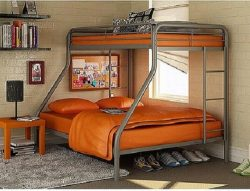 Dorel Twin-Over-Full Metal Bunk Bed, Steel color