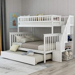 Twin Over Full Bunk Bed with Trundle and Stairs, WeYoung Wood Stairway Twin/Full Bed Frame with  ...