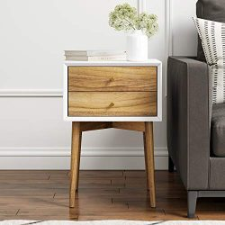 Nathan James 32702 Harper Mid-Century Side Table 2-Drawer, Wood Nightstand, White/Brown