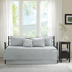 Madison Park Quebec Daybed Size Quilt Bedding Set – Grey, Damask – 6 Piece Bedding Q ...