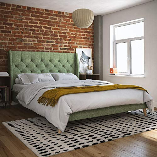 Novogratz Her Majesty Upholstered Bed, Queen, Light Green