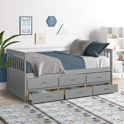 MIERES Twin Captain Bed with Trundle and Drawers,3-in-one Solid Wood Daybed with Storage for Kid ...