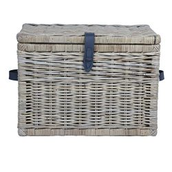 The Basket Lady Deep Wicker Storage Trunk, Large, 24 in L x 17 in W x 17.5 in H, Serene Grey