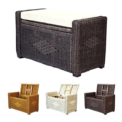 Bruno Handmade 32 Inch Rattan Wicker Chest Storage Trunk Organizer Ottoman W/cushion Dark Brown