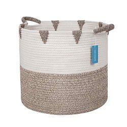 Swish Cotton Rope Storage Baskets by Swishweavers – (Brown Triangle) Large Woven Basket fo ...