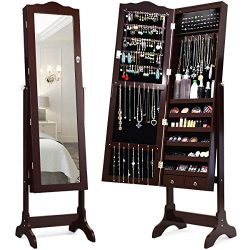 Giantex 14 LEDs Mirror Jewelry Cabinet with Lock and Key, Lockable Standing Jewelry Armoire with ...