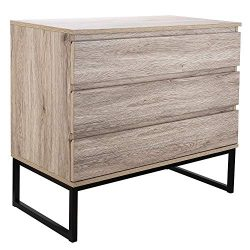 Homfa 3 Drawer Chest, Wood Dresser Storage Cabinet Organizer Collection with Steel Legs, Sideboa ...