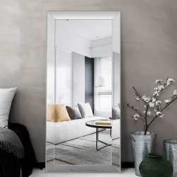ElevensMirror Extra Large Full Length Beveled Mirror Silver Framed Mirror Dressing Mirror Hangin ...