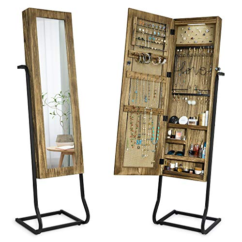 SRIWATANA Jewelry Armoire Cabinet, Solid Wood Standing Jewelry Organizer with Full Length Mirror ...