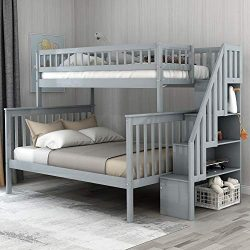 Twin-Over-Full Bunk Bed for Kids with Storage and Stair Loft, Neutral Grey