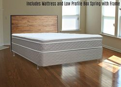 Full Assembled Orthopedic Mattress and 4″ Box Spring/Foundation Set with Frame,