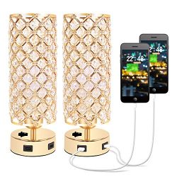 Hong-in Crystal Table Lamp with Dual USB Charging Ports, Decorative Nightstand Gold Lamps, Bedsi ...