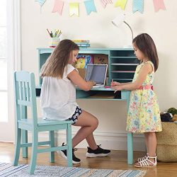 Guidecraft Children's Media Desk and Chair Set Teal: Student Study Computer Workstation, W ...