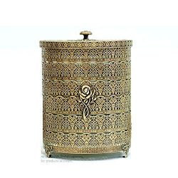 SEHAMANO Rose Patterned Antique Wastebasket, Vintage Decorative Small Trash Can, Garbage Contain ...