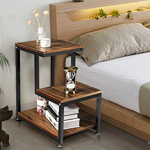 Tangkula Sofa End Table, 3-Tier Nightstand with Storage Shelf, Sturdy Metal Frame, Ladder-Shaped ...