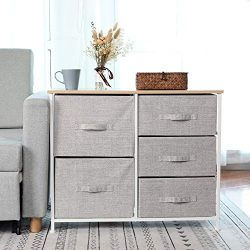 Dresser Storage Tower with 5 Storage Cubes,Foldable Fabric Drawer Bins,Sturdy Steel Frame, Wood  ...