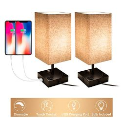 Touch Control Dimmable Table Lamp with 2 USB Charging Ports and 2 AC Outlets, Set of 2, Bedside  ...